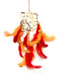 """Dream Catcher #56 Ganesha in gold w/red and orange feathers 9""""-10"""" approx"""