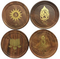 Wooden Round Incense / Cone Burners Gold Prints (Pack of 12)