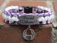 """Proud Mom"" Charm Tag Bracelet (Choose your colors and charm)"