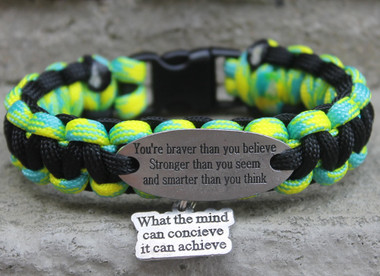 """You are braver than you believe Stronger than you Seem and Smarter than you think"" Charm Tag Bracelet"