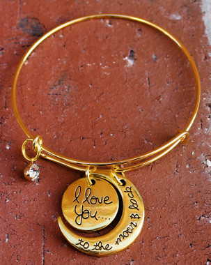 """I Love You to the Moon and Back"" Gold Colored Bangle Bracelet"