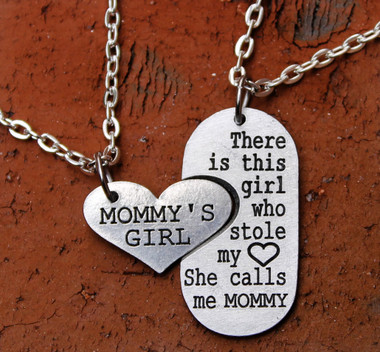 """""""Mommy's Girl"""" and Mommy Necklace Set"""