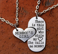 """Mommy's Girl"" and Mommy Necklace Set"