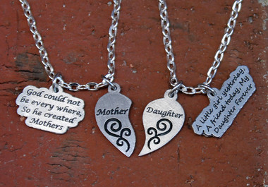 Mother & Daughter Half Heart Necklace Set