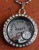 """I carry you in my heart"" Floating Charm Locket (Choose your charms)"