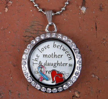 """The love between mother & daughter is forever"" Floating Charm Locket (Choose your charms)"