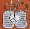 """Daddy's Girl, Mommy's World"" Necklace with Mommy and Daddy Key Chain Set"