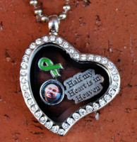 Heart Glass Floating Locket with Photo Charm (445)