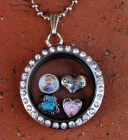 Circle Floating Locket with a Photo (Choose your charms)