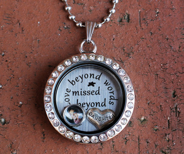 """Love beyond words, Missed beyond measure"" Floating Charm Locket with a Photo (Choose your charms)"