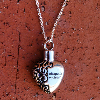 """Always in my heart"" Ash Urn Pendant (Stainless Steel)"