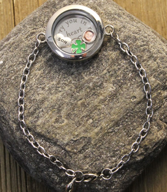 """""""I carry you in my heart"""" Glass Floating Locket Bracelet with Photo Charm"""