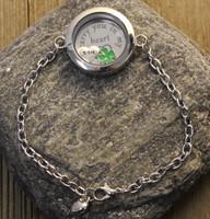 """I carry you in my heart"" Glass Floating Locket Bracelet"