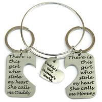 """Daddy's Girl, Mommy's World"" Bangle with Mommy and Daddy Key Chain Set"