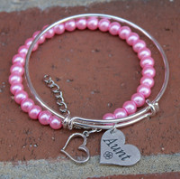 "Stacked ""Beaded and Bangle"" Charm Bracelets"