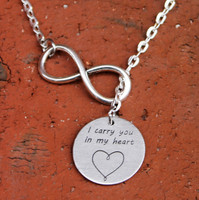 "Infinity Necklace - ""I carry you in my heart"""