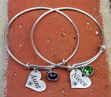 Aunt and Niece Bangle Bracelet Set