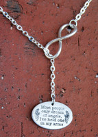 """Most people only dream of angels..."" Infinity Necklace"
