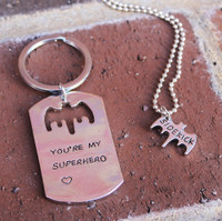 Superhero & Sidekick Necklace and/or Key Chain Set