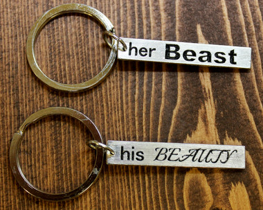 """""""His Beauty"""" and """"Her Beast"""" Key Chain Sets"""