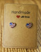 American Flag Heart Studs