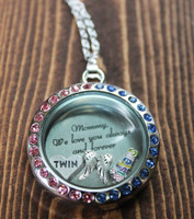 "Pregnancy and Infant Loss ""Mommy, We love you always and forever"" Glass Floating Locket"