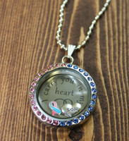 "Pregnancy and Infant Loss ""I carry you in my heart"" Glass Floating Locket"