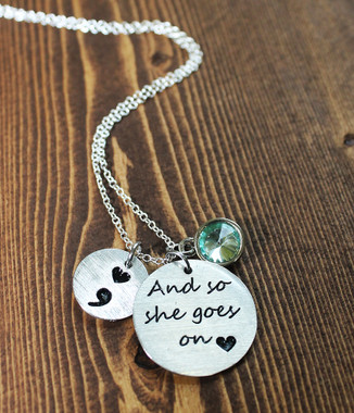 """And so she goes on"" Semi Colon Necklace"