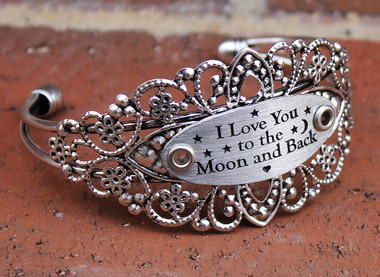 """""""I Love You to the Moon and Back"""" Silver Flower Cuff Bangle Bracelet"""