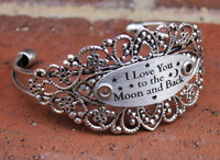 """I Love You to the Moon and Back"" Silver Flower Cuff Bangle Bracelet"