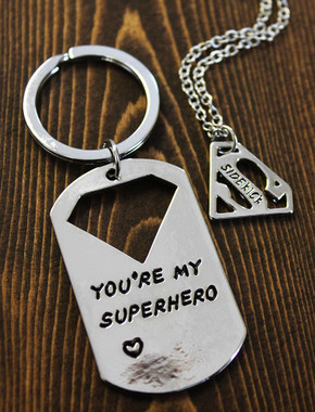 "Superhero & Sidekick Necklace and/or Key Chain Set - ""S"""