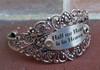 """""""Half my Heart is in Heaven"""" Silver Flower Cuff Bangle Bracelet (657)"""