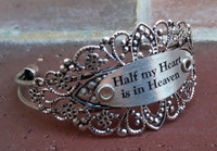 """Half my Heart is in Heaven"" Silver Flower Cuff Bangle Bracelet (657)"