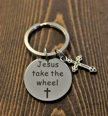 """""""Jesus take the wheel"""" Key Chain"""