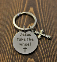 """Jesus take the wheel"" Key Chain"