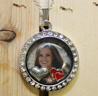 Photo Glass Locket with Floating charms
