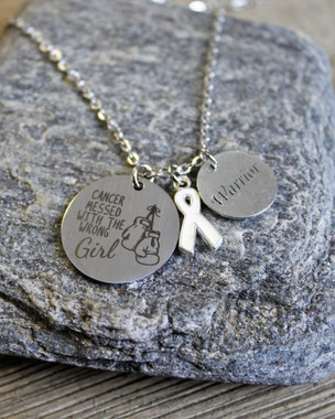 """""""Cancer messed with the wrong girl"""" Necklace"""
