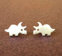 Dinosaur Studs - Triceratops, Silver