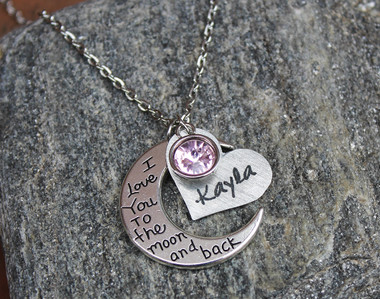 """I love you to the Moon and Back"" - Heart - Necklace"