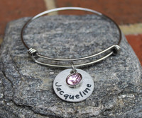 Personalized Birthstone Bangle (1 name)