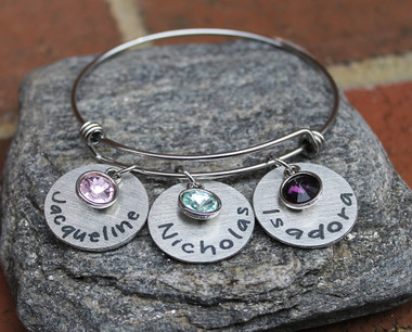 Personalized Birthstone Bangle (3 names)