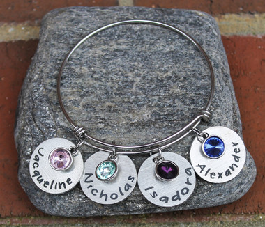 Personalized Birthstone Bangle (4 names)