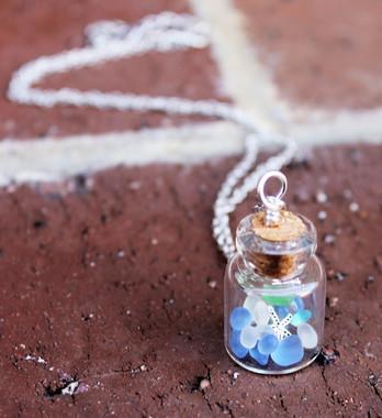 Sea Glass Vial Necklace