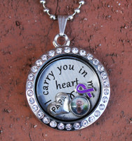 """Papa"" - ""I carry you in my heart"" Floating Charm Locket"