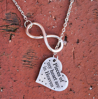 """Infinity Necklace - """"Pieces of my heart are in Heaven"""""""