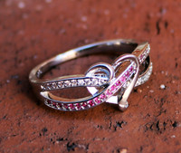 "Infinity Heart ""Pink CZ"" Sterling Silver Ring"
