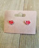 Double Heart Earring - Red