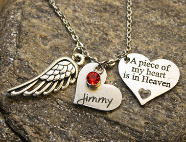Memorial Custom Heart Necklace (Choose you Charms and Engrave)