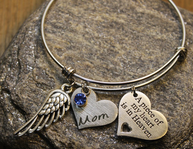 Memorial Custom Heart Bangle (Choose you Charms and Engrave)