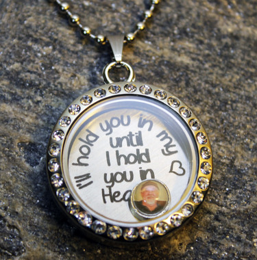 """""""I'll carry you in my heart until I hold you in Heaven"""" Floating Charm Locket with Photo (Choose your charms)"""